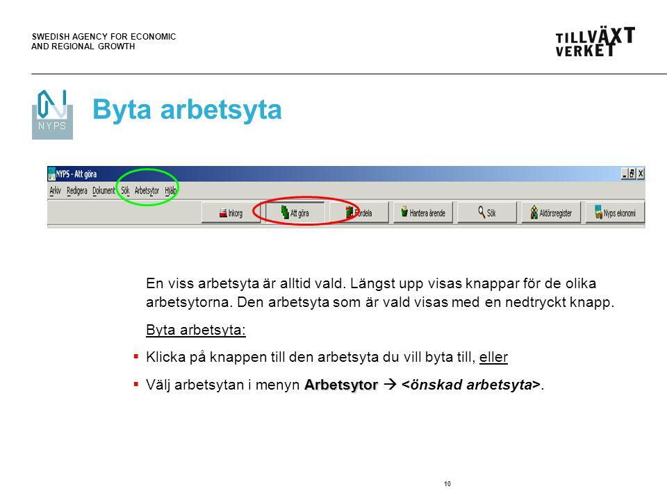SWEDISH AGENCY FOR ECONOMIC AND REGIONAL GROWTH 10 Byta arbetsyta En viss arbetsyta är alltid vald.