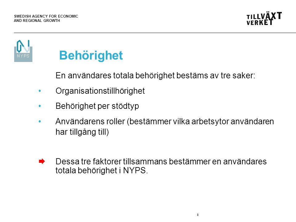 SWEDISH AGENCY FOR ECONOMIC AND REGIONAL GROWTH 8 Behörighet En användares totala behörighet bestäms av tre saker: Organisationstillhörighet Behörighe