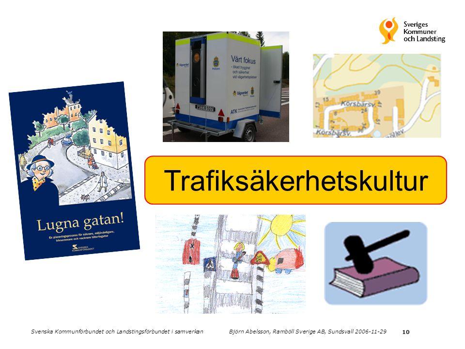 10 Trafiksäkerhetskultur Svenska Kommunförbundet och Landstingsförbundet i samverkan Björn Abelsson, Ramböll Sverige AB, Sundsvall 2006-11-29