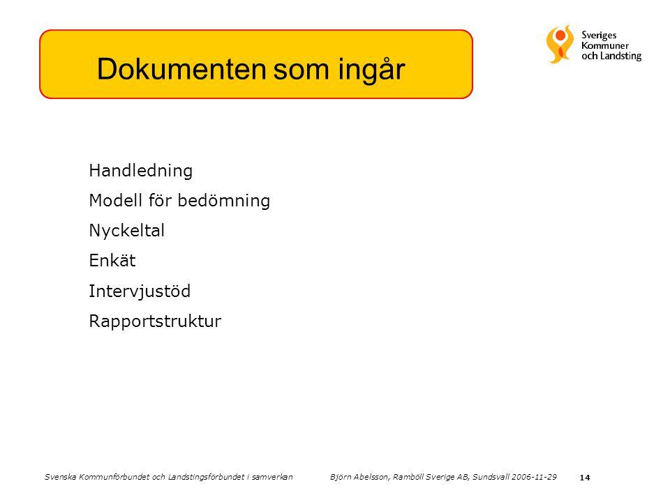 14 Dokumenten som ingår Handledning Modell för bedömning Nyckeltal Enkät Intervjustöd Rapportstruktur Svenska Kommunförbundet och Landstingsförbundet i samverkan Björn Abelsson, Ramböll Sverige AB, Sundsvall 2006-11-29