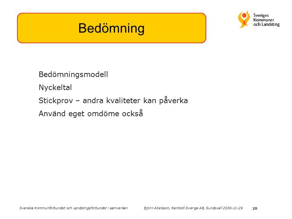 20 Bedömning Bedömningsmodell Nyckeltal Stickprov – andra kvaliteter kan påverka Använd eget omdöme också Svenska Kommunförbundet och Landstingsförbundet i samverkan Björn Abelsson, Ramböll Sverige AB, Sundsvall 2006-11-29