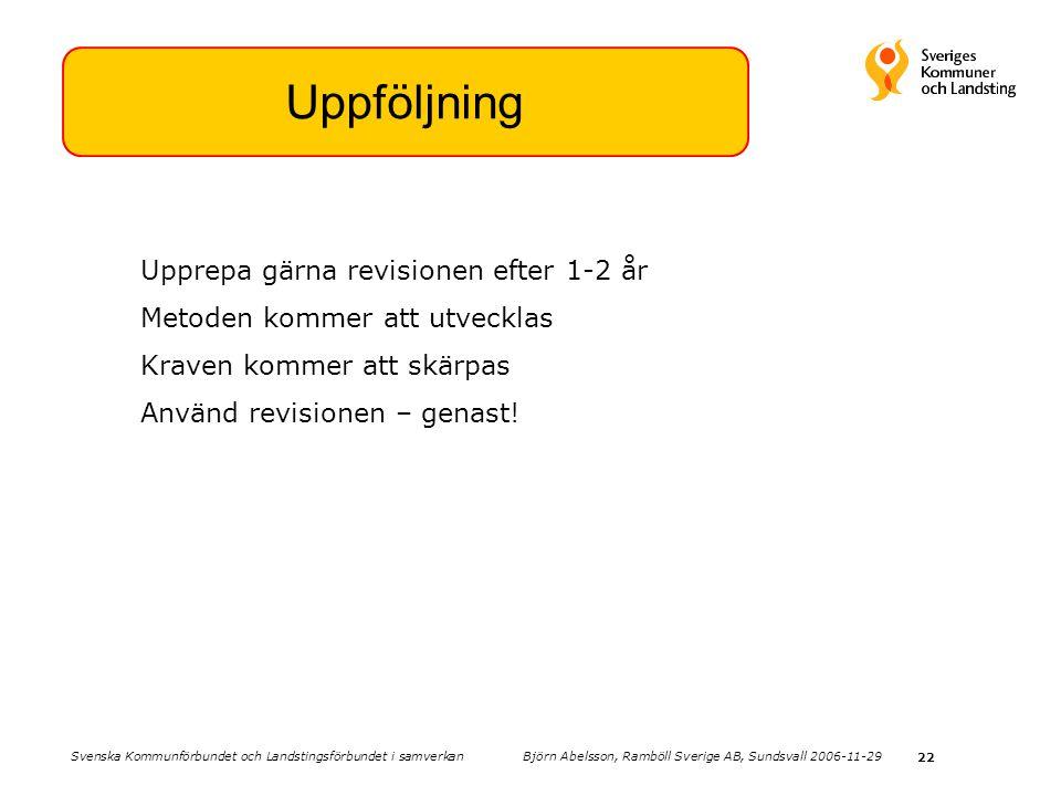 22 Uppföljning Upprepa gärna revisionen efter 1-2 år Metoden kommer att utvecklas Kraven kommer att skärpas Använd revisionen – genast! Svenska Kommun