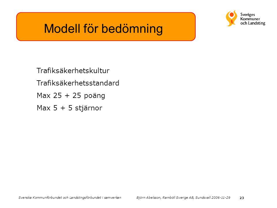 23 Modell för bedömning Trafiksäkerhetskultur Trafiksäkerhetsstandard Max 25 + 25 poäng Max 5 + 5 stjärnor Svenska Kommunförbundet och Landstingsförbundet i samverkan Björn Abelsson, Ramböll Sverige AB, Sundsvall 2006-11-29