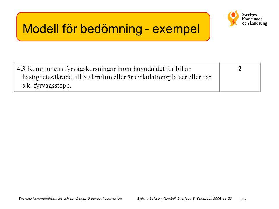 26 Modell för bedömning - exempel 4.3 Kommunens fyrvägskorsningar inom huvudnätet för bil är hastighetssäkrade till 50 km/tim eller är cirkulationsplatser eller har s.k.