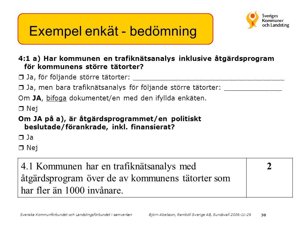 30 4:1 a) Har kommunen en trafiknätsanalys inklusive åtgärdsprogram för kommunens större tätorter?  Ja, för följande större tätorter: _______________