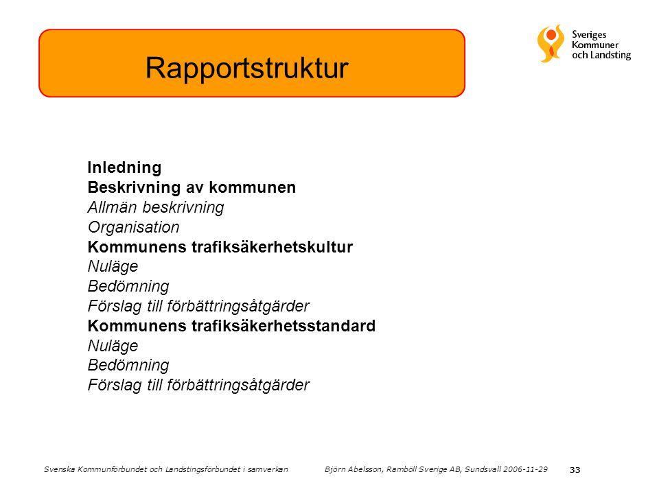 33 Rapportstruktur Inledning Beskrivning av kommunen Allmän beskrivning Organisation Kommunens trafiksäkerhetskultur Nuläge Bedömning Förslag till förbättringsåtgärder Kommunens trafiksäkerhetsstandard Nuläge Bedömning Förslag till förbättringsåtgärder Svenska Kommunförbundet och Landstingsförbundet i samverkan Björn Abelsson, Ramböll Sverige AB, Sundsvall 2006-11-29