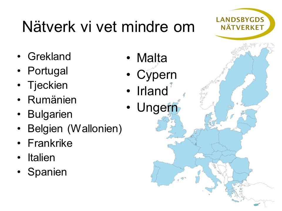Nätverk vi vet mindre om Grekland Portugal Tjeckien Rumänien Bulgarien Belgien (Wallonien) Frankrike Italien Spanien Malta Cypern Irland Ungern