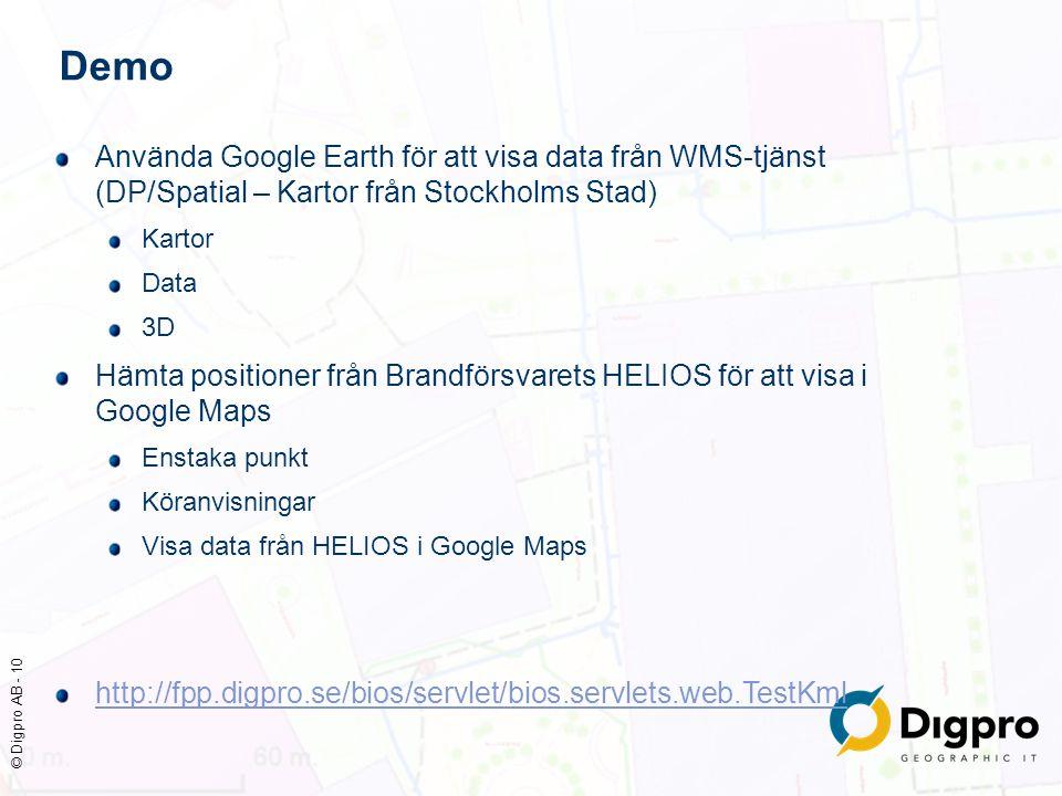 © Digpro AB - 10 Demo Använda Google Earth för att visa data från WMS-tjänst (DP/Spatial – Kartor från Stockholms Stad) Kartor Data 3D Hämta positione