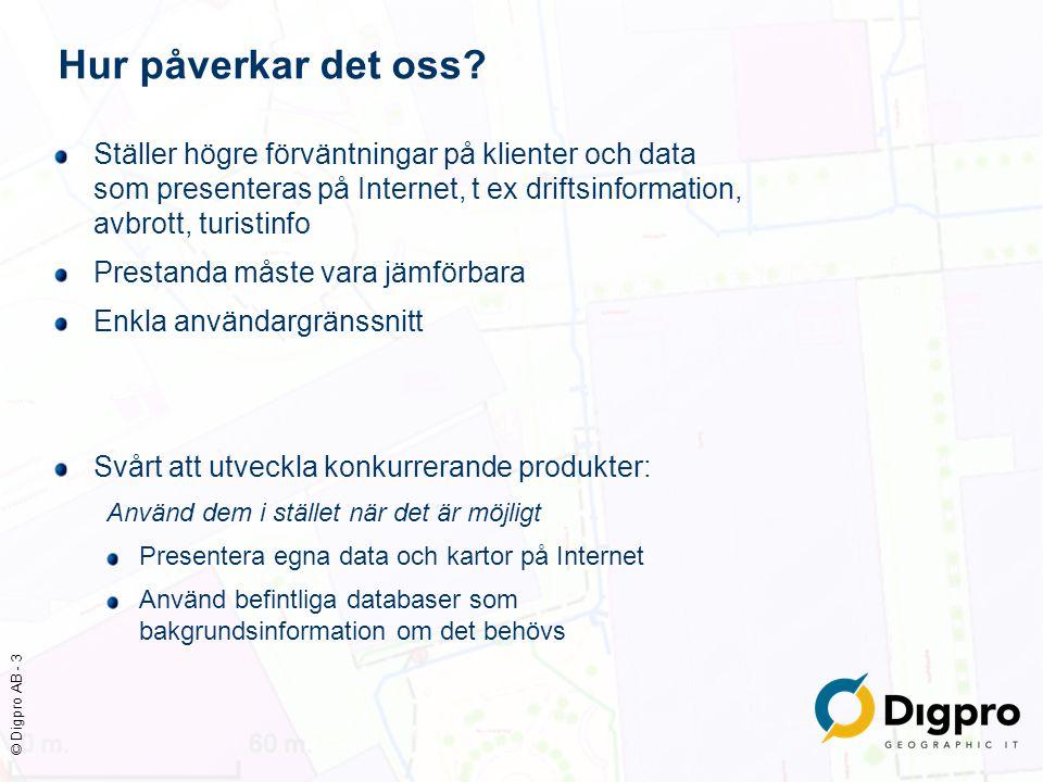 © Digpro AB - 3 Hur påverkar det oss? Ställer högre förväntningar på klienter och data som presenteras på Internet, t ex driftsinformation, avbrott, t