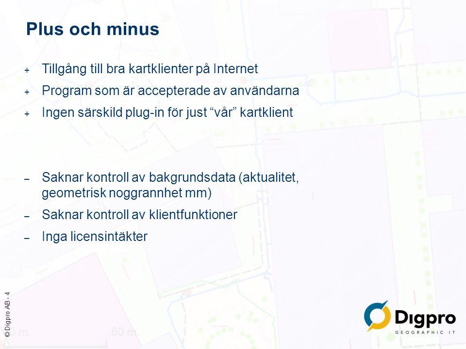 © Digpro AB - 4 Plus och minus + Tillgång till bra kartklienter på Internet + Program som är accepterade av användarna + Ingen särskild plug-in för ju