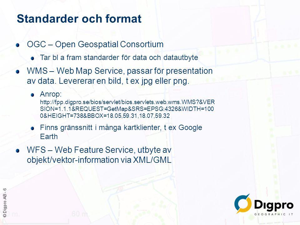 © Digpro AB - 6 Standarder och format OGC – Open Geospatial Consortium Tar bl a fram standarder för data och datautbyte WMS – Web Map Service, passar