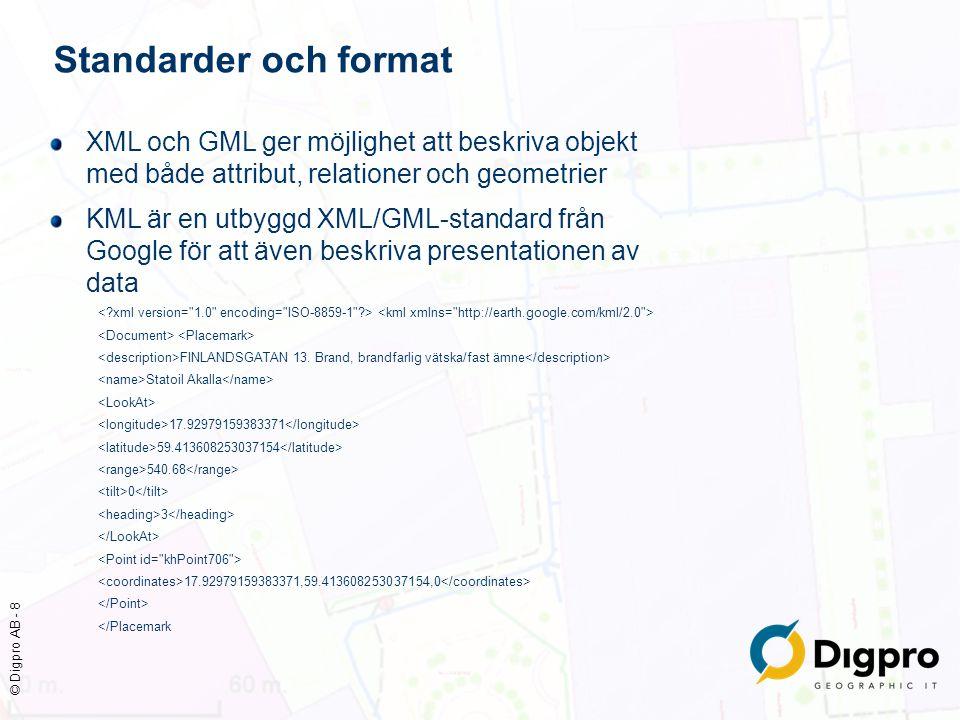 © Digpro AB - 8 Standarder och format XML och GML ger möjlighet att beskriva objekt med både attribut, relationer och geometrier KML är en utbyggd XML