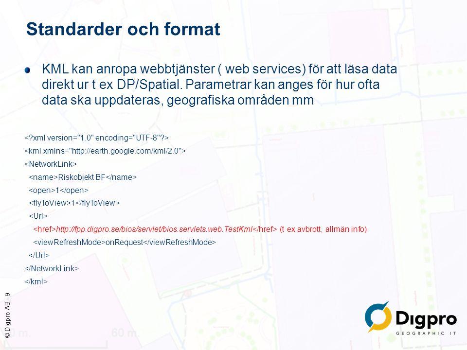 © Digpro AB - 9 Standarder och format KML kan anropa webbtjänster ( web services) för att läsa data direkt ur t ex DP/Spatial. Parametrar kan anges fö