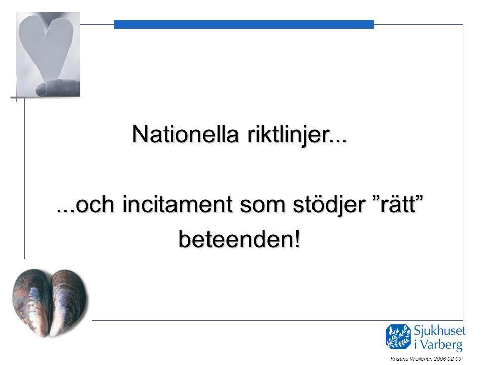"""Nationella riktlinjer......och incitament som stödjer """"rätt"""" beteenden! Kristina Wallentin 2006 02 09"""