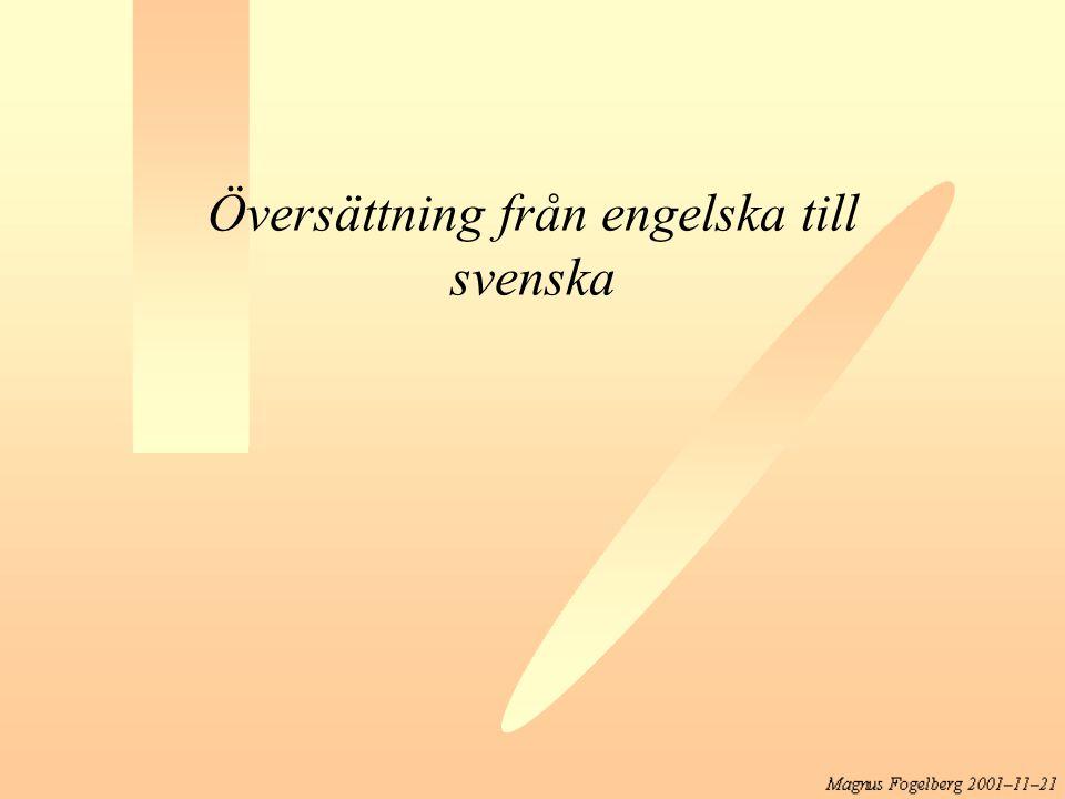 Översättning från engelska till svenska