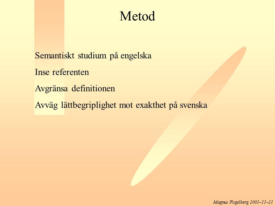 Metod Semantiskt studium på engelska Inse referenten Avgränsa definitionen Avväg lättbegriplighet mot exakthet på svenska