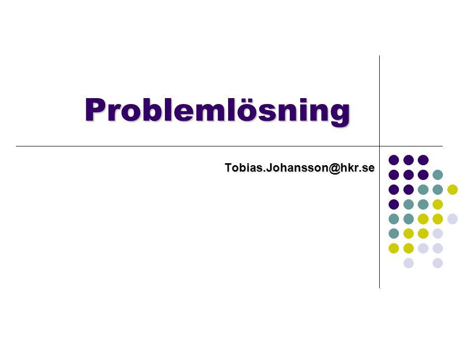 Inte bara problem space Problemlösning är mer än analys av problem space - Problem kan vara olika svåra även om problem space är samma - Hur problemet beskrivs spelar roll Acrobat vs.