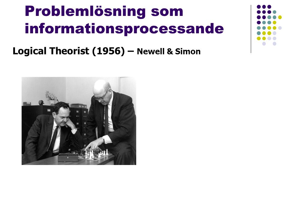 Problemlösning som informationsprocessande Logical Theorist (1956) – Newell & Simon