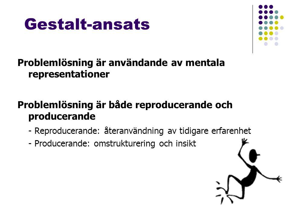 Gestalt-ansats Problemlösning är användande av mentala representationer Problemlösning är både reproducerande och producerande - Reproducerande: återanvändning av tidigare erfarenhet - Producerande: omstrukturering och insikt
