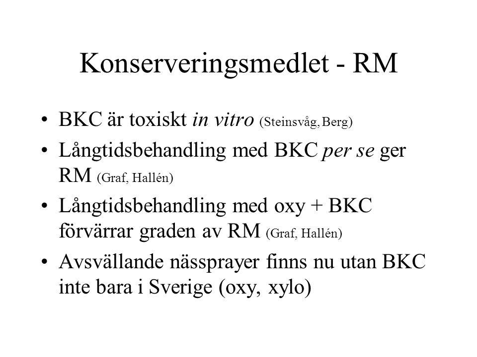 Konserveringsmedlet - RM BKC är toxiskt in vitro (Steinsvåg, Berg) Långtidsbehandling med BKC per se ger RM (Graf, Hallén) Långtidsbehandling med oxy