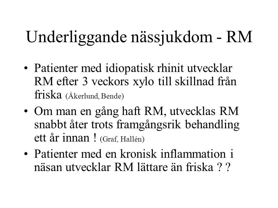 Underliggande nässjukdom - RM Patienter med idiopatisk rhinit utvecklar RM efter 3 veckors xylo till skillnad från friska (Åkerlund, Bende) Om man en