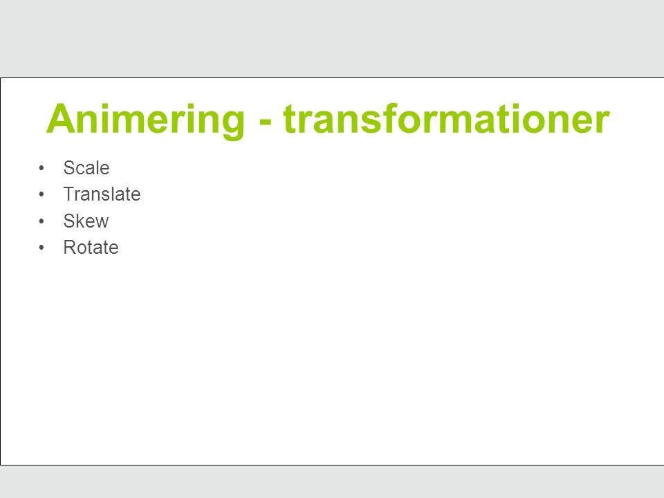 Animering - transformationer Scale Translate Skew Rotate