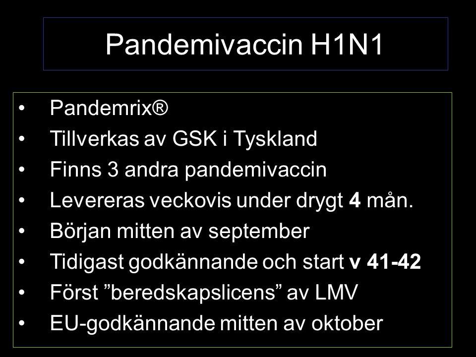 Pandemivaccin H1N1 Pandemrix® Tillverkas av GSK i Tyskland Finns 3 andra pandemivaccin Levereras veckovis under drygt 4 mån.