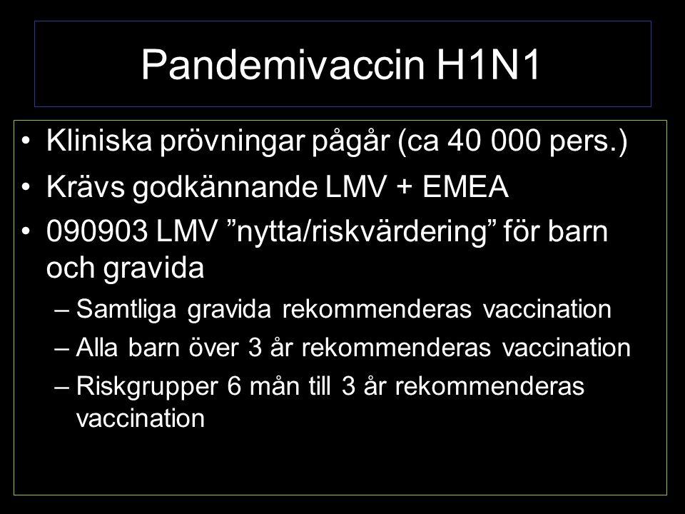 Pandemivaccin H1N1 Kliniska prövningar pågår (ca 40 000 pers.) Krävs godkännande LMV + EMEA 090903 LMV nytta/riskvärdering för barn och gravida –Samtliga gravida rekommenderas vaccination –Alla barn över 3 år rekommenderas vaccination –Riskgrupper 6 mån till 3 år rekommenderas vaccination