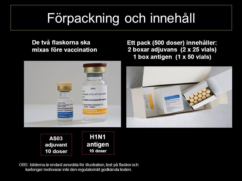 Förpackning och innehåll De två flaskorna ska mixas före vaccination AS03 adjuvant 10 doser H1N1 antigen 10 doser Ett pack (500 doser) innehåller: 2 boxar adjuvans (2 x 25 vials) 1 box antigen (1 x 50 vials) OBS: bilderna är endast avsedda för illustration, text på flaskor och kartonger motsvarar inte den regulatoriskt godkända texten.