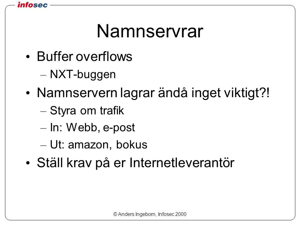 © Anders Ingeborn, Infosec 2000 Namnservrar Buffer overflows – NXT-buggen Namnservern lagrar ändå inget viktigt .
