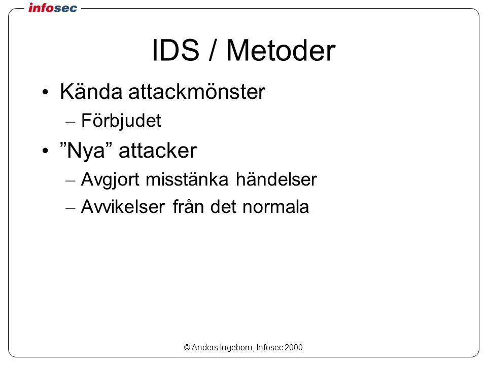 © Anders Ingeborn, Infosec 2000 IDS / Metoder Kända attackmönster – Förbjudet Nya attacker – Avgjort misstänka händelser – Avvikelser från det normala