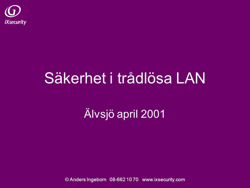 © Anders Ingeborn 08-662 10 70 www.ixsecurity.com Säkerhet i trådlösa LAN Älvsjö april 2001