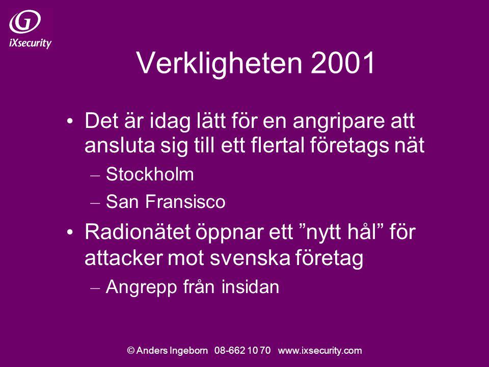 © Anders Ingeborn 08-662 10 70 www.ixsecurity.com Verkligheten 2001 Det är idag lätt för en angripare att ansluta sig till ett flertal företags nät – Stockholm – San Fransisco Radionätet öppnar ett nytt hål för attacker mot svenska företag – Angrepp från insidan