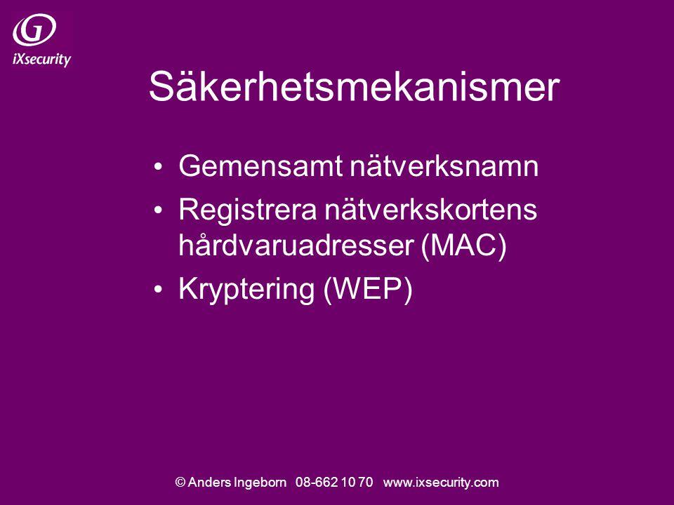 © Anders Ingeborn 08-662 10 70 www.ixsecurity.com Säkerhetsmekanismer Gemensamt nätverksnamn Registrera nätverkskortens hårdvaruadresser (MAC) Kryptering (WEP)