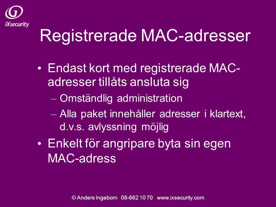 © Anders Ingeborn 08-662 10 70 www.ixsecurity.com Registrerade MAC-adresser Endast kort med registrerade MAC- adresser tillåts ansluta sig – Omständlig administration – Alla paket innehåller adresser i klartext, d.v.s.
