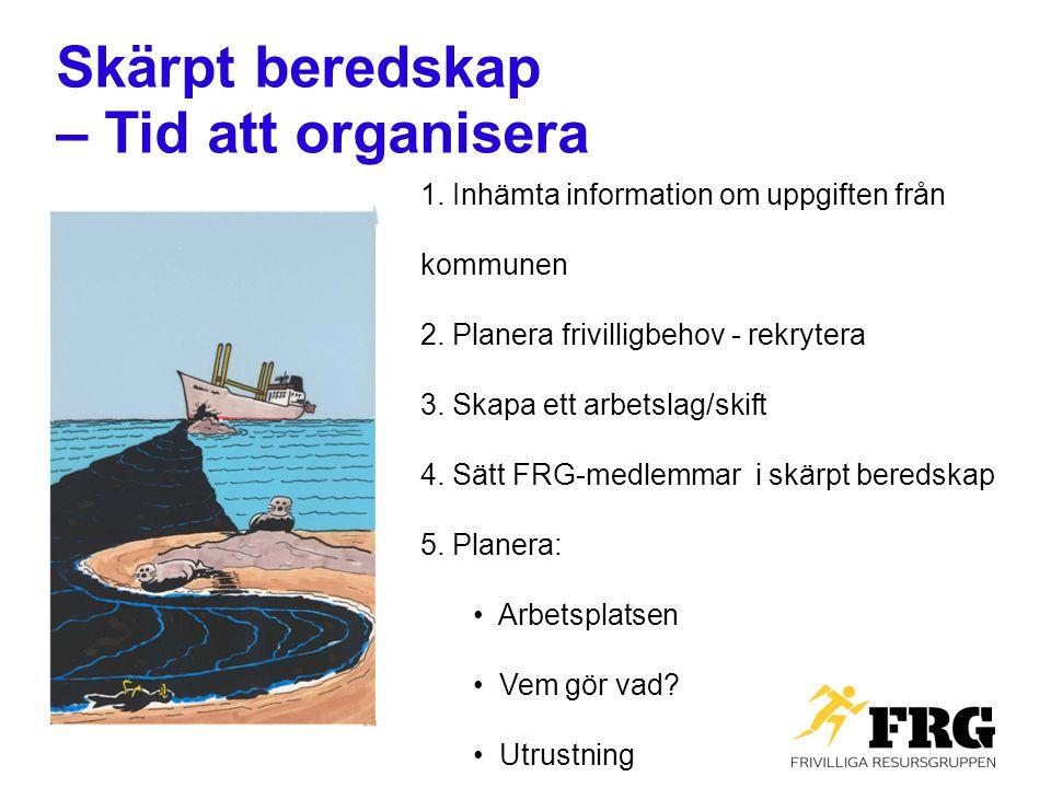 Skärpt beredskap – Tid att organisera 1. Inhämta information om uppgiften från kommunen 2. Planera frivilligbehov - rekrytera 3. Skapa ett arbetslag/s