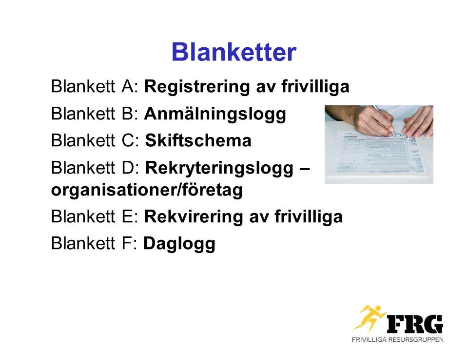 Blanketter Blankett A: Registrering av frivilliga Blankett B: Anmälningslogg Blankett C: Skiftschema Blankett D: Rekryteringslogg – organisationer/för