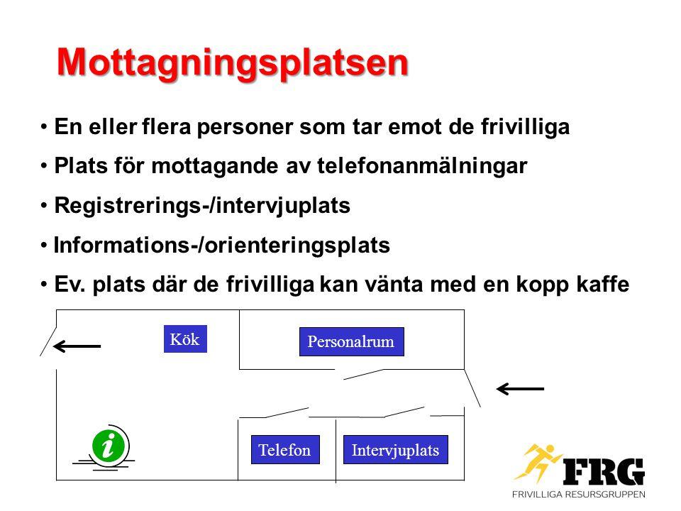 Mottagningsplatsen En eller flera personer som tar emot de frivilliga Plats för mottagande av telefonanmälningar Registrerings-/intervjuplats Informat