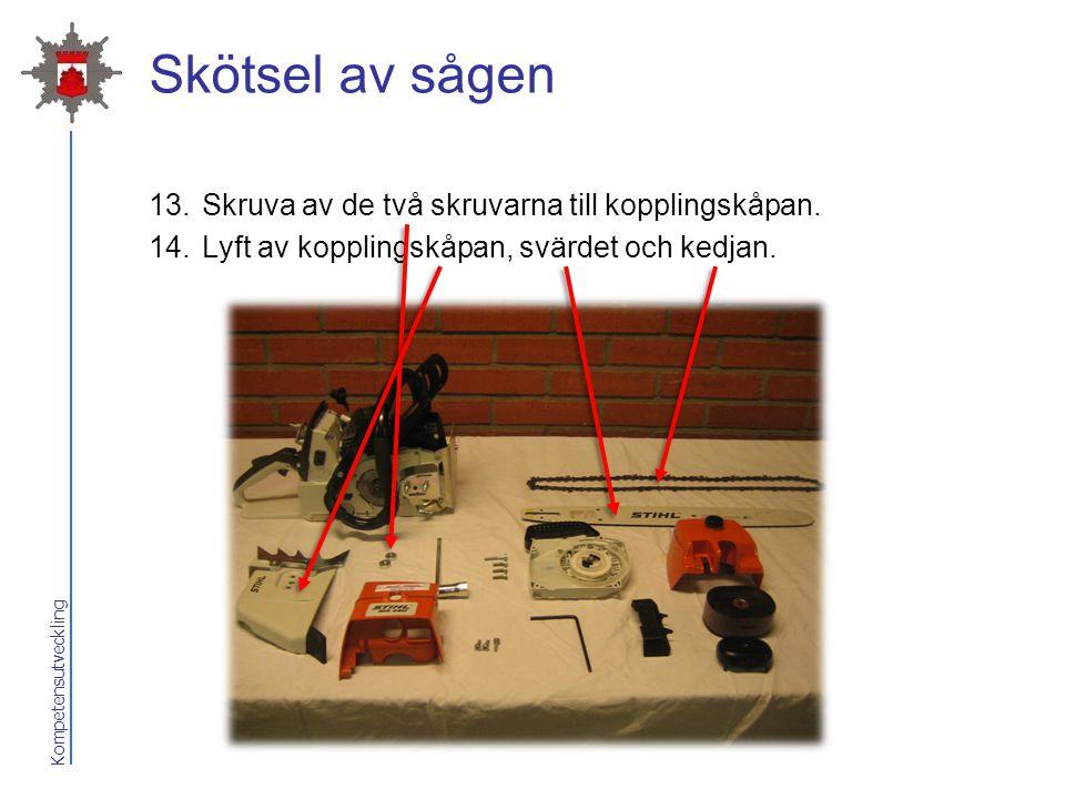 Kompetensutveckling Skötsel av sågen 13.Skruva av de två skruvarna till kopplingskåpan. 14.Lyft av kopplingskåpan, svärdet och kedjan.