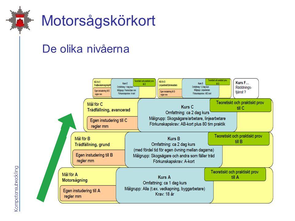 Kompetensutveckling Motorsågskörkort De olika nivåerna