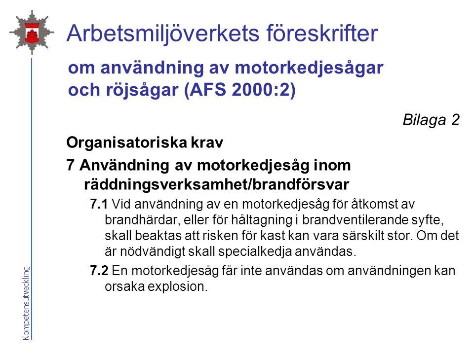 Kompetensutveckling Arbetsmiljöverkets föreskrifter Bilaga 2 Organisatoriska krav 7 Användning av motorkedjesåg inom räddningsverksamhet/brandförsvar