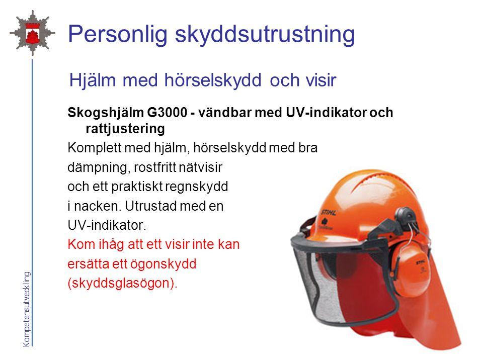 Kompetensutveckling Personlig skyddsutrustning Skogshjälm G3000 - vändbar med UV-indikator och rattjustering Komplett med hjälm, hörselskydd med bra d