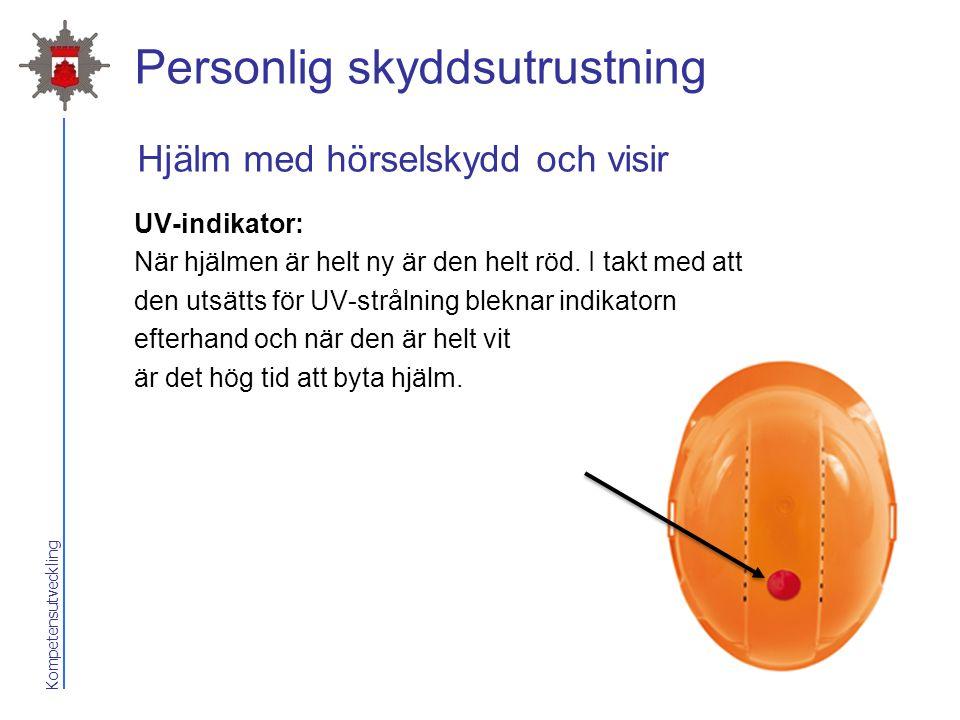 Kompetensutveckling Personlig skyddsutrustning UV-indikator: När hjälmen är helt ny är den helt röd. I takt med att den utsätts för UV-strålning blekn