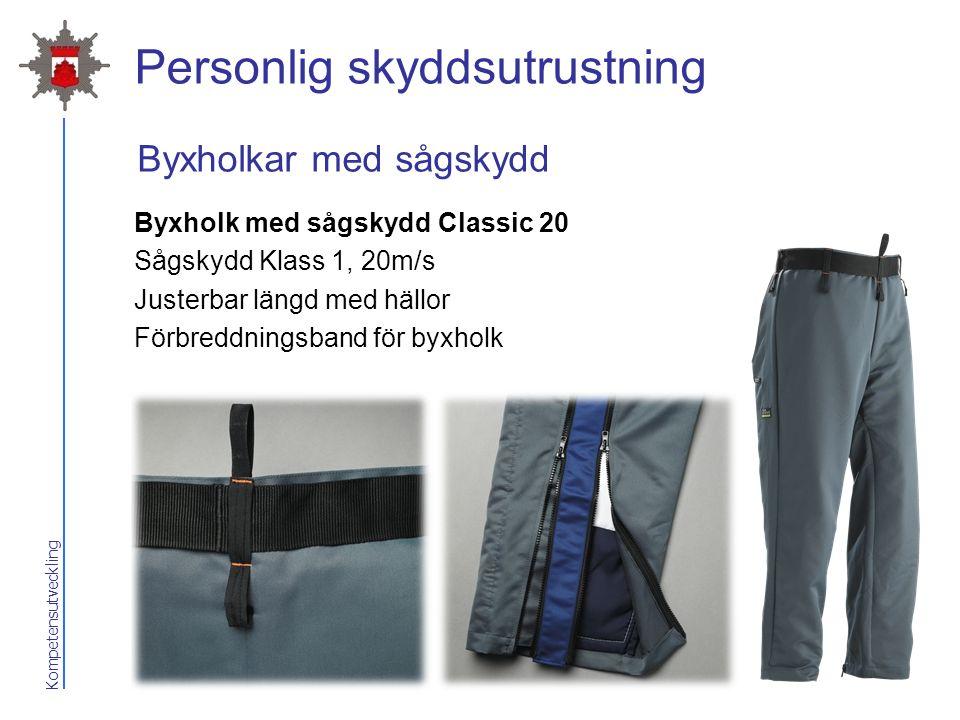 Kompetensutveckling Personlig skyddsutrustning Byxholk med sågskydd Classic 20 Sågskydd Klass 1, 20m/s Justerbar längd med hällor Förbreddningsband fö