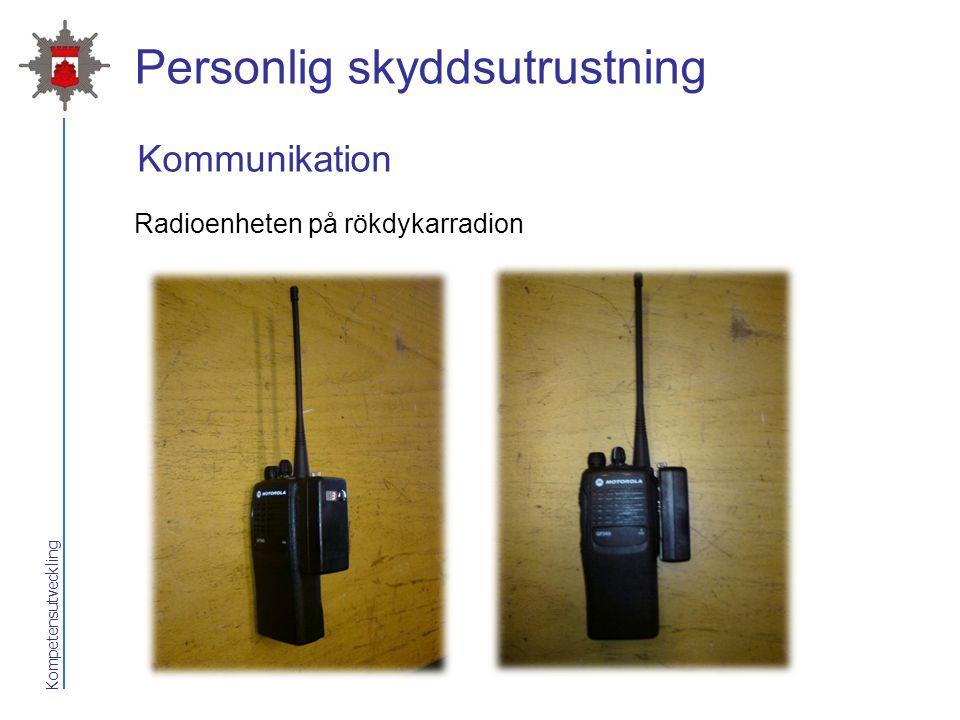 Kompetensutveckling Personlig skyddsutrustning Radioenheten på rökdykarradion Kommunikation