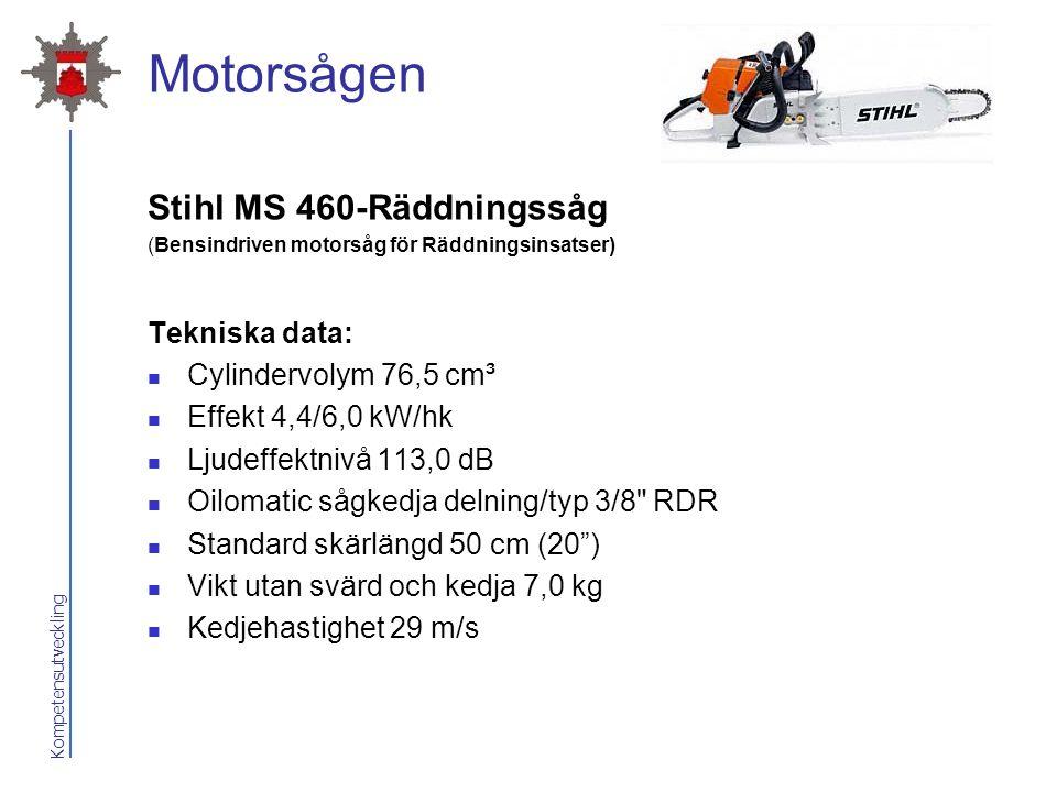 Kompetensutveckling Motorsågen Stihl MS 460-Räddningssåg (Bensindriven motorsåg för Räddningsinsatser) Tekniska data: Cylindervolym 76,5 cm³ Effekt 4,