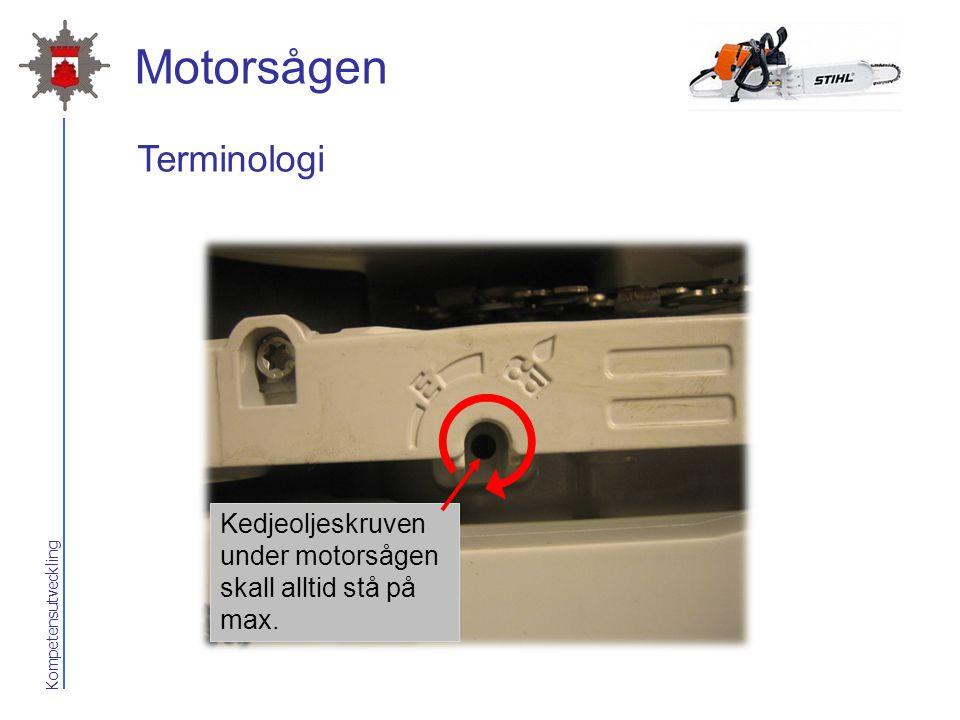 Kompetensutveckling Motorsågen Kedjeoljeskruven under motorsågen skall alltid stå på max. Terminologi