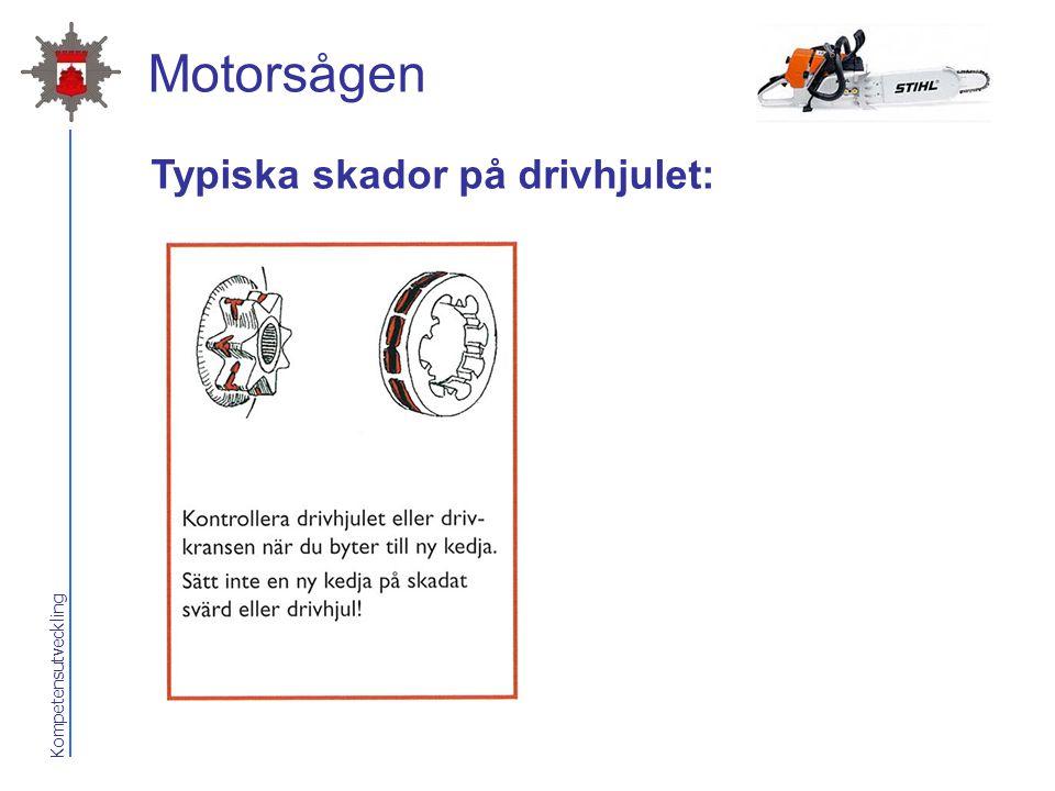 Kompetensutveckling Motorsågen Typiska skador på drivhjulet: