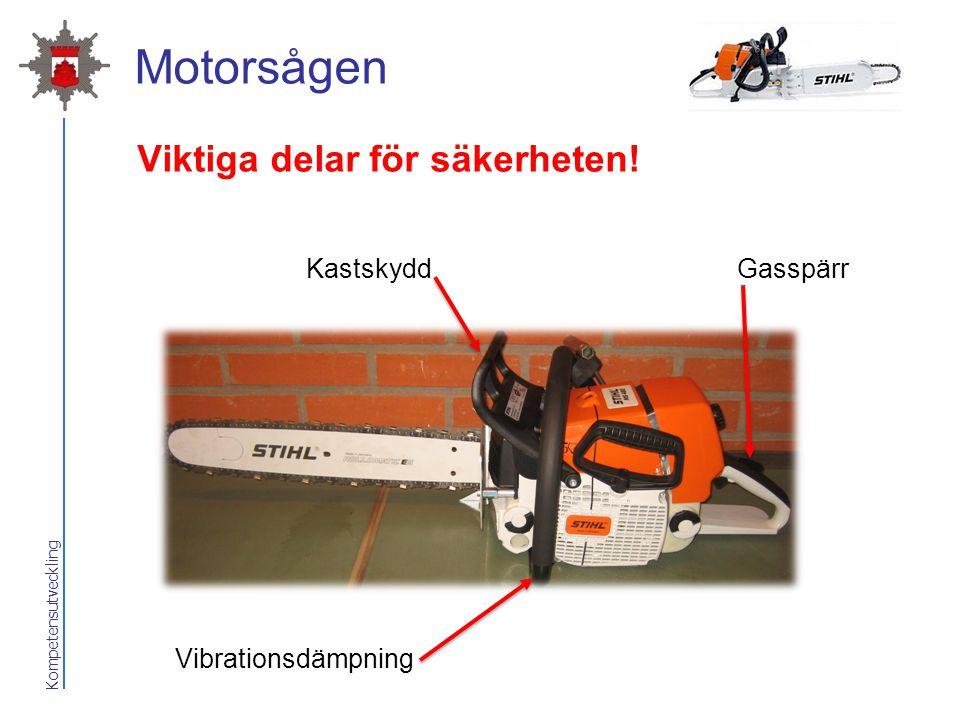 Kompetensutveckling Motorsågen Kastskydd Vibrationsdämpning Gasspärr Viktiga delar för säkerheten!