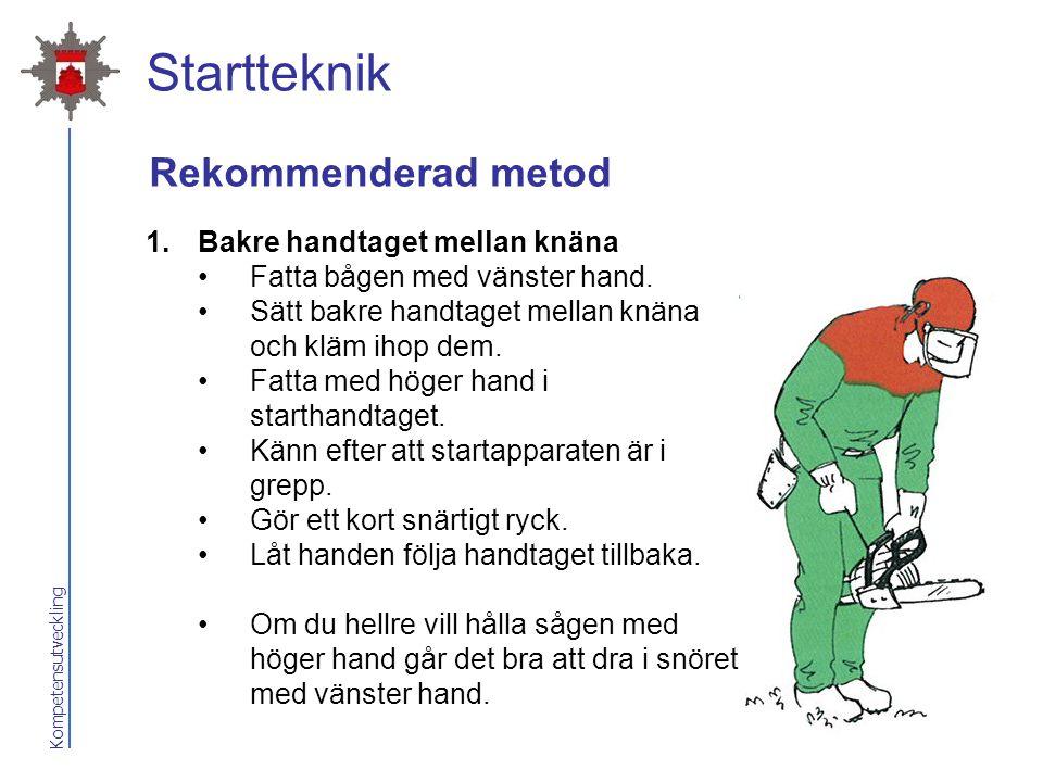 Kompetensutveckling Startteknik Rekommenderad metod 1.Bakre handtaget mellan knäna Fatta bågen med vänster hand. Sätt bakre handtaget mellan knäna och